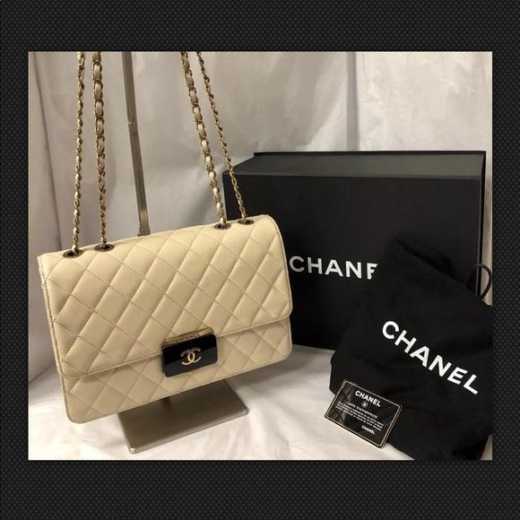 CHANEL Handbags - Chanel Beautiful Tan Lock Flap Quilted Sheepskin